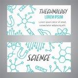 Drapeaux de la Science réglés Icône d'ensemble de recherches Ligne minuscule éléments de vecteur Laboratoire et brochure d'éducat Images stock