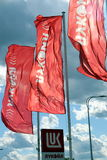 Drapeaux de la société LUKOIL Image libre de droits