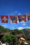 Drapeaux de la Suisse Photographie stock libre de droits