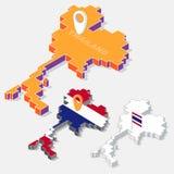Drapeaux de la Thaïlande sur l'élément de carte et la forme 3D isométrique d'isolement sur le fond illustration stock