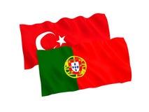Drapeaux de la Turquie et du Portugal sur un fond blanc illustration stock