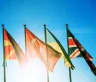 Drapeaux de Macédoine, de la Turquie, de l'Ukraine et du Royaume-Uni Images libres de droits