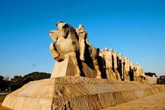 Drapeaux de monument en parc Sao Paulo d'Ibirapuera Photographie stock