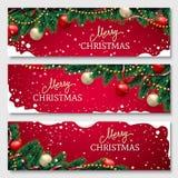 Drapeaux de Noël réglés illustration stock