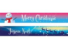 Drapeaux de Noël sur le bleu et le rose Photographie stock libre de droits
