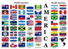 Drapeaux de nord et de l'Amérique du Sud Photographie stock libre de droits