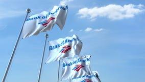 Drapeaux de ondulation avec le logo de la Banque d'Amérique contre le ciel, rendu 3D éditorial Image stock