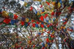 Drapeaux de ondulation colorés de prière Photos libres de droits