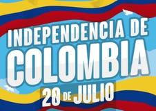 Drapeaux de ondulation dans le ciel pour le Jour de la Déclaration d'Indépendance en Colombie, illustration de vecteur Photo libre de droits