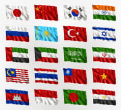 Drapeaux de ondulation de l'Asie Photographie stock libre de droits