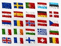 Drapeaux de ondulation de l'Europe Images libres de droits