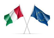 Drapeaux de ondulation de l'Italie et de l'Union européenne illustration de vecteur