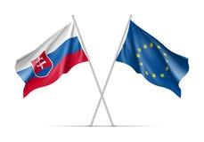 Drapeaux de ondulation de la Slovaquie et de l'Union européenne illustration stock
