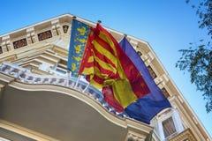 Drapeaux de ondulation de Valence, de l'Espagne et d'Union européenne (UE) Photos libres de droits