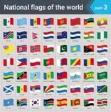 Drapeaux de ondulation du monde Collection de drapeaux - ensemble complet des drapeaux nationaux Photographie stock