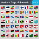 Drapeaux de ondulation du monde Collection de drapeaux - ensemble complet des drapeaux nationaux Photo stock