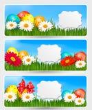 Drapeaux de Pâques avec des oeufs de pâques Images libres de droits