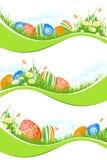 Drapeaux de Pâques réglés d'isolement sur le blanc Photos libres de droits