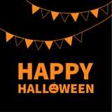 Drapeaux de papier de triangle Bannière heureuse des textes de lettrage de Halloween avec la silhouette orange triste de potiron  Photographie stock