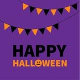 Drapeaux de papier de triangle Texte heureux de lettrage de Halloween Photos stock