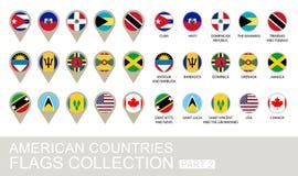 Drapeaux de pays américains collection, partie Photographie stock libre de droits