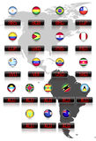 Drapeaux de pays avec des symboles monétaires officiels Images libres de droits