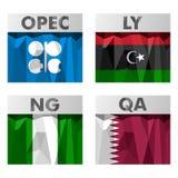 Drapeaux de pays de l'OPEP Image stock