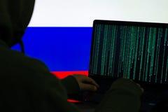 Drapeaux de pays et concept d'attaque de cyber photographie stock libre de droits