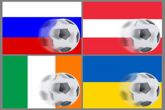 Drapeaux de 4 pays et football de roulement Photo stock