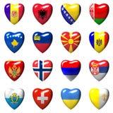 Drapeaux de pays européens enveloppés au coeur 3d Photographie stock libre de droits