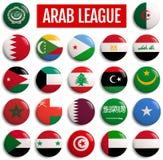 Drapeaux de pays de la Ligue arabe illustration stock