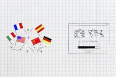 Drapeaux de pays de langues étrangères après à aller étude à l'étranger m automatique image stock