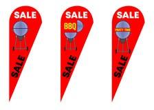 Drapeaux de plume de larme en vente de partie de BBQ illustration stock