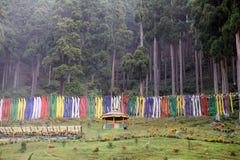 Drapeaux de prière dans la forêt, Darjeeling, Inde Image libre de droits