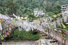Drapeaux de prière, Legship, Sikkim occidental, Inde Images libres de droits