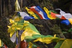 Drapeaux de prière, Taktshang Goemba, Bhutan Photos libres de droits
