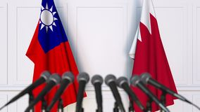 Drapeaux de Ta?wan et du Bahrain ? la conf?rence de presse internationale de r?union ou de n?gociations animation 3D banque de vidéos