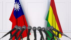Drapeaux de Ta?wan et de la Bolivie ? la conf?rence de presse internationale de r?union ou de n?gociations animation 3D clips vidéos