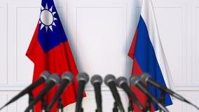 Drapeaux de Ta?wan et de la Russie ? la conf?rence de presse internationale de r?union ou de n?gociations animation 3D clips vidéos
