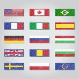 Drapeaux de textile Photos stock
