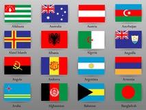 Drapeaux de tous les pays de la partie du monde Images libres de droits