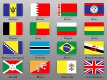 Drapeaux de tous les pays de la partie du monde Photo stock
