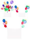 Drapeaux de vacances avec les ballons colorés Photos stock