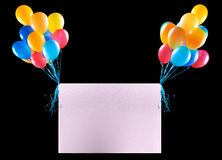 Drapeaux de vacances avec les ballons colorés Photo stock