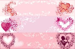 Drapeaux de Valentines. Illustration de vecteur   illustration libre de droits