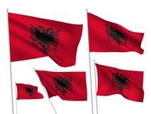Drapeaux de vecteur de l'Albanie Photos libres de droits