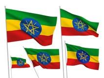 Drapeaux de vecteur de l'Ethiopie Images libres de droits