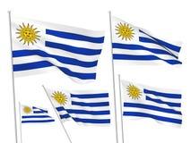 Drapeaux de vecteur de l'Uruguay Photographie stock libre de droits