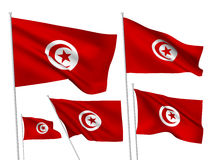 Drapeaux de vecteur de la Tunisie Photos stock
