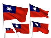Drapeaux de vecteur de Taïwan Photos libres de droits